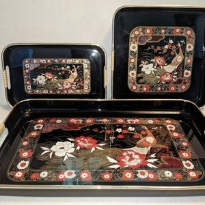 Other - Vintage Japanese Lacquer Ware Tray Set w Peacock